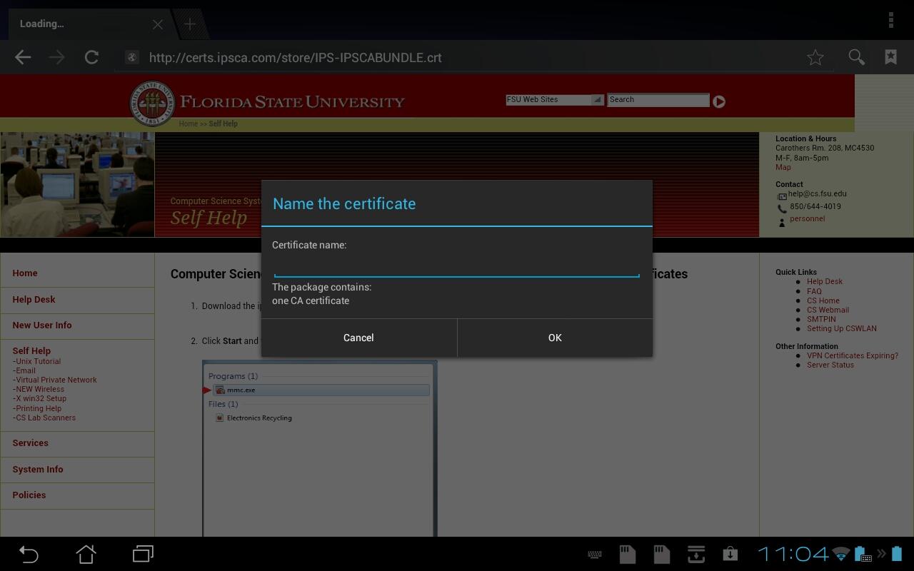 Name certificate