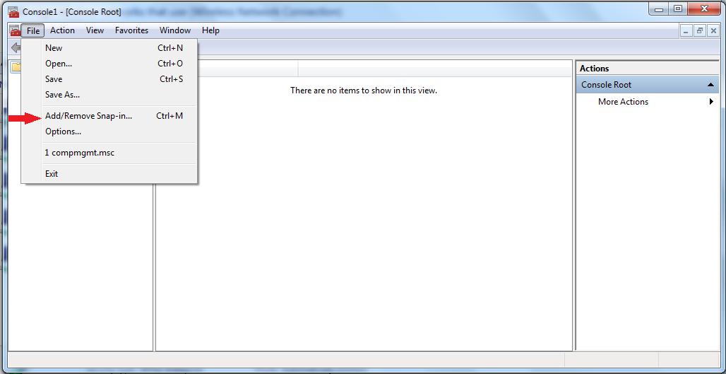 File -> Add/Remove Snap-in...