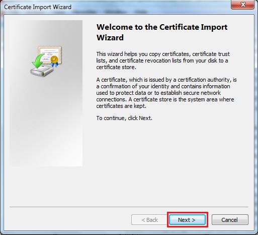 Certificate Import Wizrd