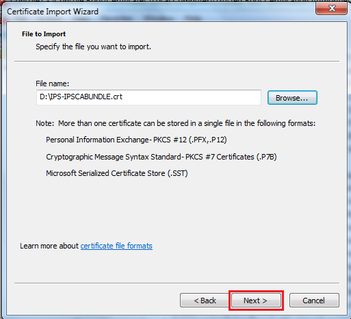 Updated Certificate Import Wizard