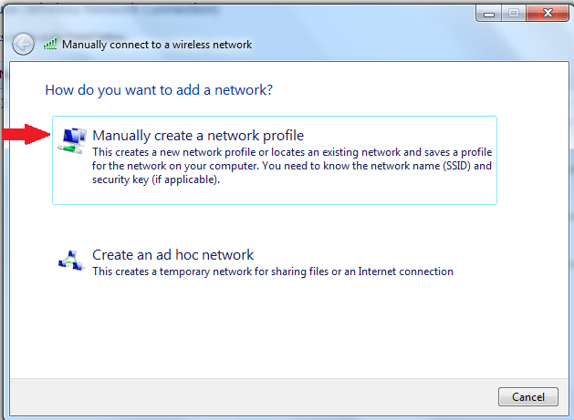Manually create a network profile
